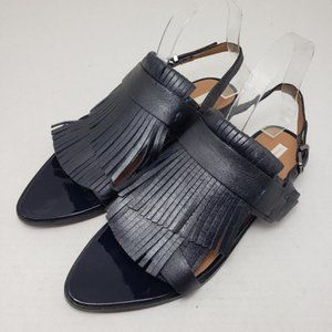H&M Navy Blue Open Toe Fringe Buckle Flat Sandals